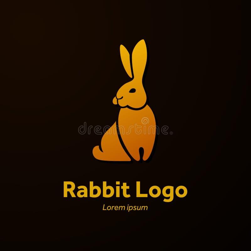 Kanin sitter, den plana logoen royaltyfri illustrationer