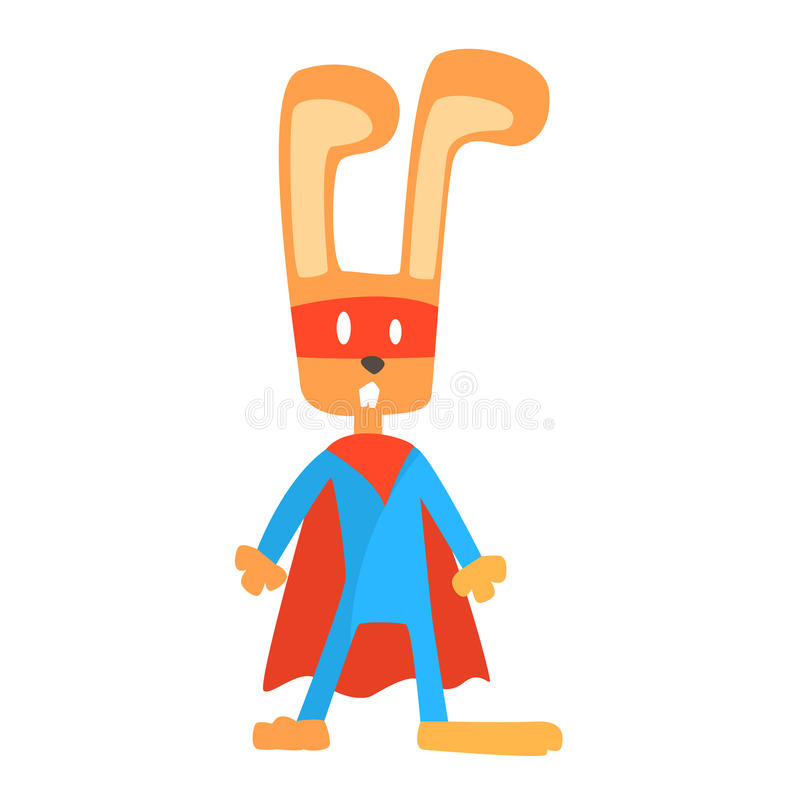 Kanin som ler djuret som kläs som Superhero med tecken för vigilante för udde ett komiker maskerat geometriskt stock illustrationer