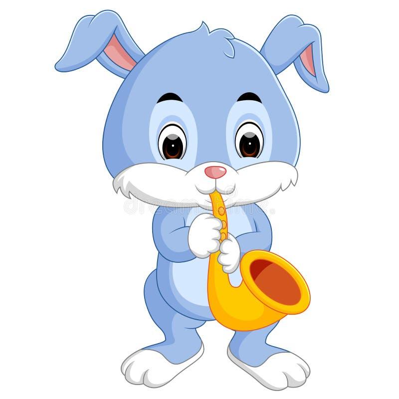 Kanin som spelar saxofonen vektor illustrationer