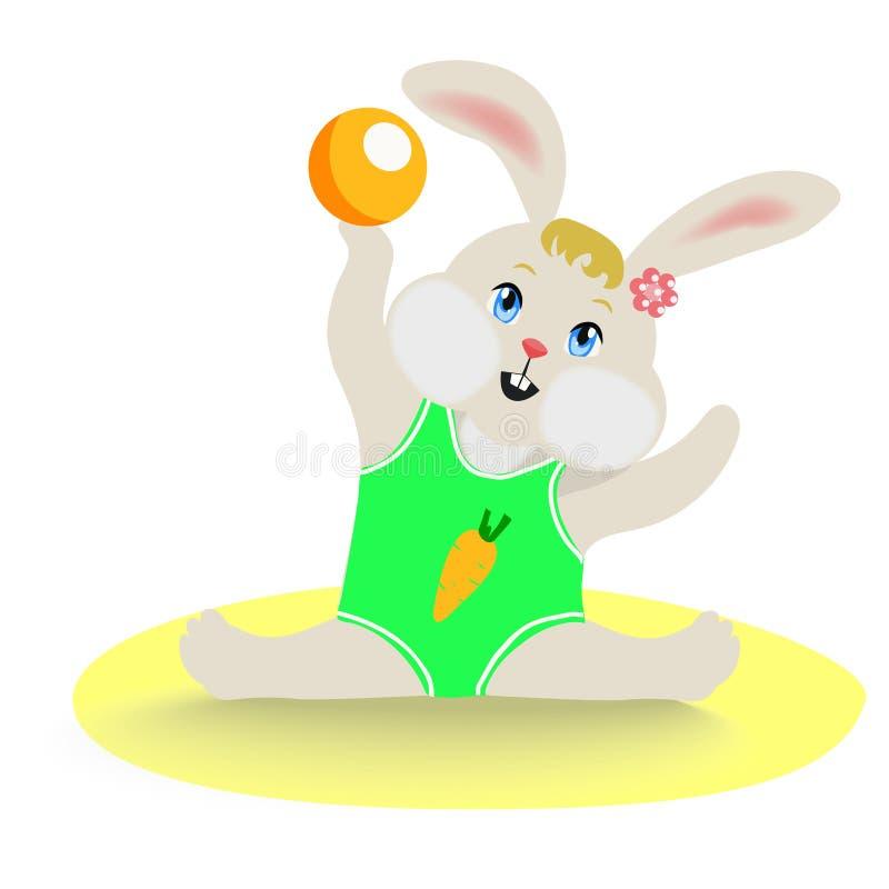 Kanin utför en beståndsdel av rytmisk gymnastik med en boll stock illustrationer