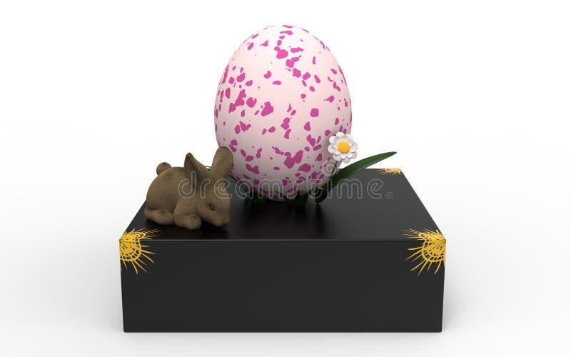 Kaninchen auf dem Kasten mit Ei stockbilder