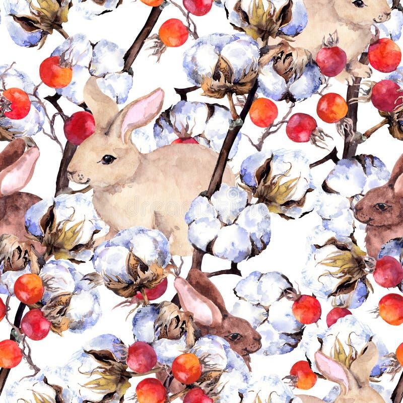 Kaninchen, Baumwollstrauchniederlassungen, rote Beeren Nahtloses Muster des Winters watercolor vektor abbildung