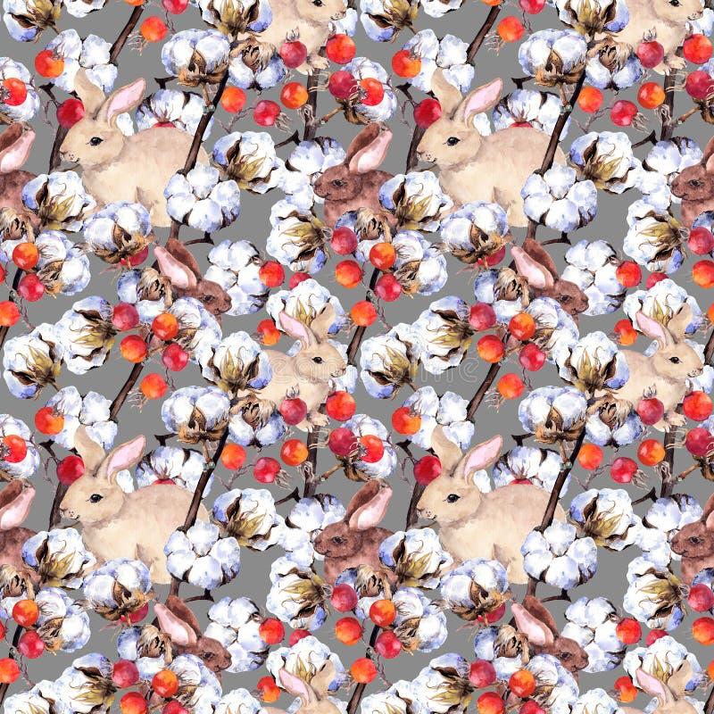 Kaninchen, Baumwollstrauchniederlassungen, rote Beeren Winter Muster wiederholend watercolor vektor abbildung