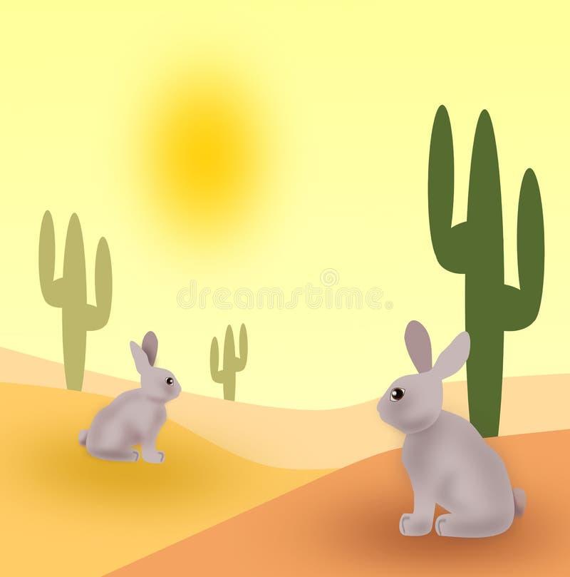 Kaninchen in der Wüste lizenzfreie abbildung