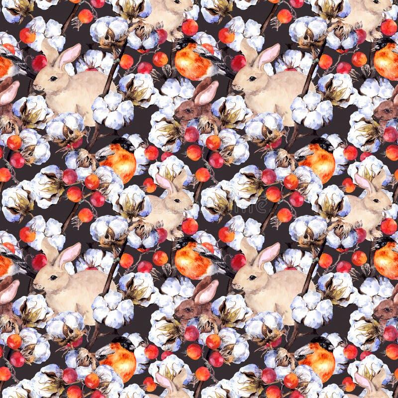 Kaninchen, Finkvögel, Baumwollstrauch verzweigt sich, rote Beeren Nahtloser Hintergrund des Winters Aquarellmuster vektor abbildung