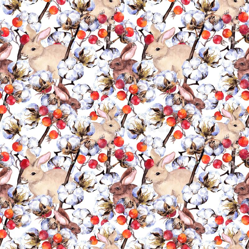 Kaninchen, Finkvögel, Baumwollstrauch verzweigt sich, rote Beeren Nahtloser Hintergrund des Winters watercolor lizenzfreie abbildung