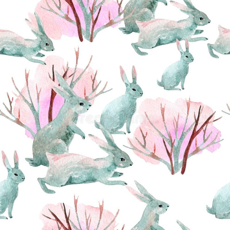 Kaninchen im Winter Nahtloses Muster des Aquarells lizenzfreie abbildung