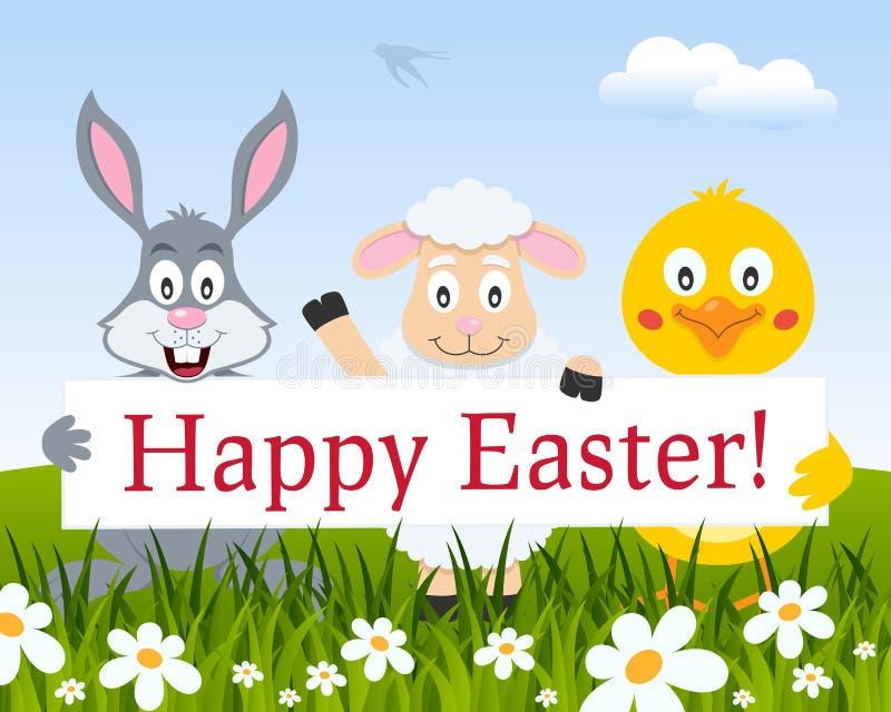 Kaninchen, Küken, Lamm mit glücklichem Ostern-Zeichen vektor abbildung