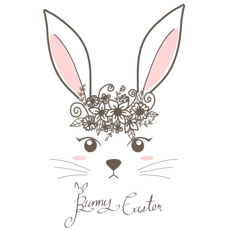 Kaninchen mit Blume auf Herzvektor stockbilder