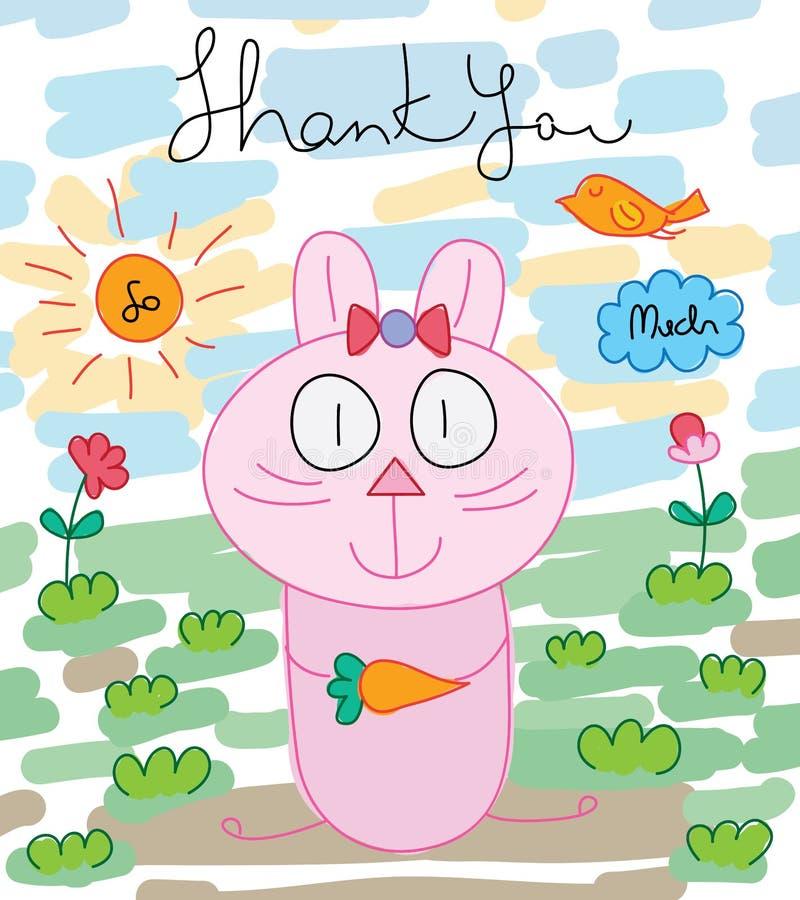 Kaninchen mit Karotte genug danken Ihnen Karte stock abbildung