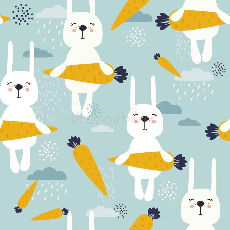 Kaninchen mit Karotten, dekorativer netter Hintergrund Buntes nahtloses Muster mit Tieren vektor abbildung