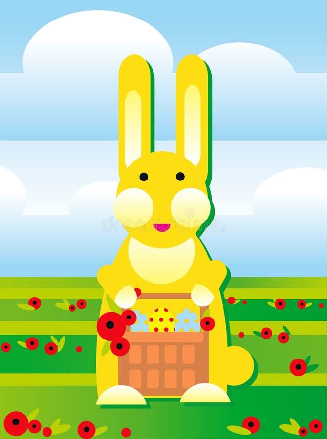 Kaninchen mit Ostereiern lizenzfreie abbildung