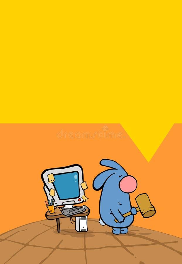 Kaninchen u. PC stock abbildung