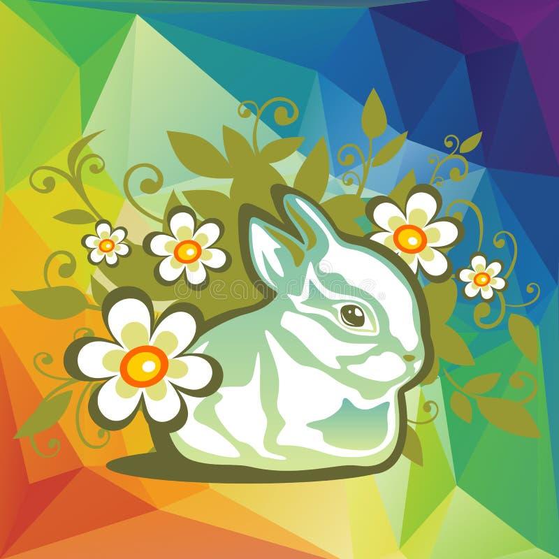 Kaninchen und Blumen stock abbildung