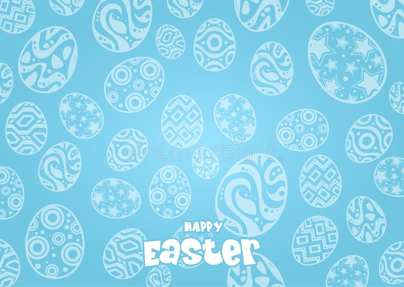 Kaninchen und Eier an Ostern-Tag Bunny Ears-Hintergrund stock abbildung
