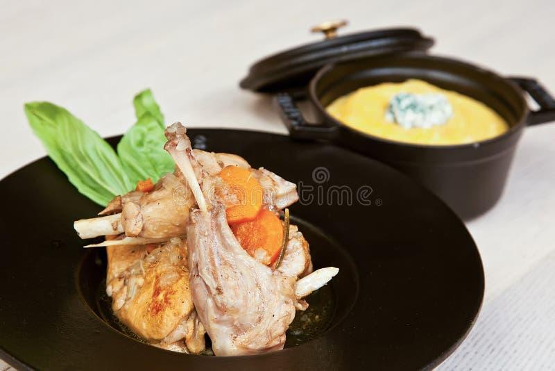 Kaninchen- und Hühnerragout stockfotografie