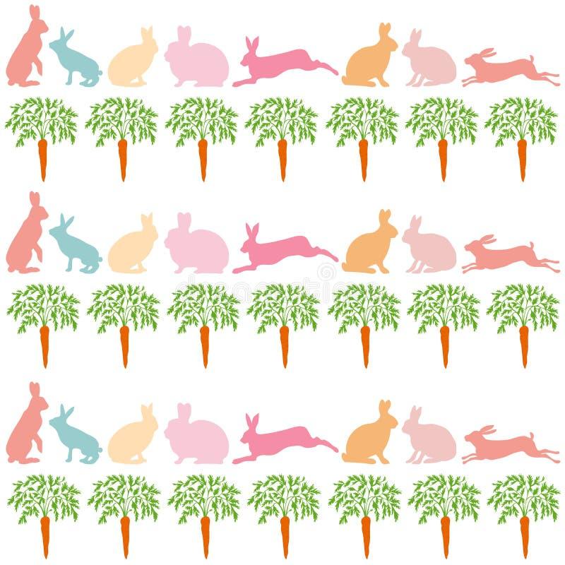 Kaninchen und Karotten auf einem weißen Hintergrund vektor abbildung