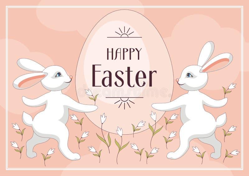 Kaninchen- und Osterei lizenzfreie abbildung