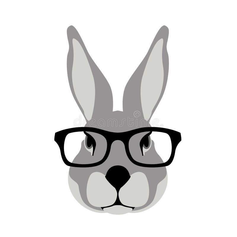 Kaninchengesichtskopf in den Gläsern vector Illustrationsebene vektor abbildung