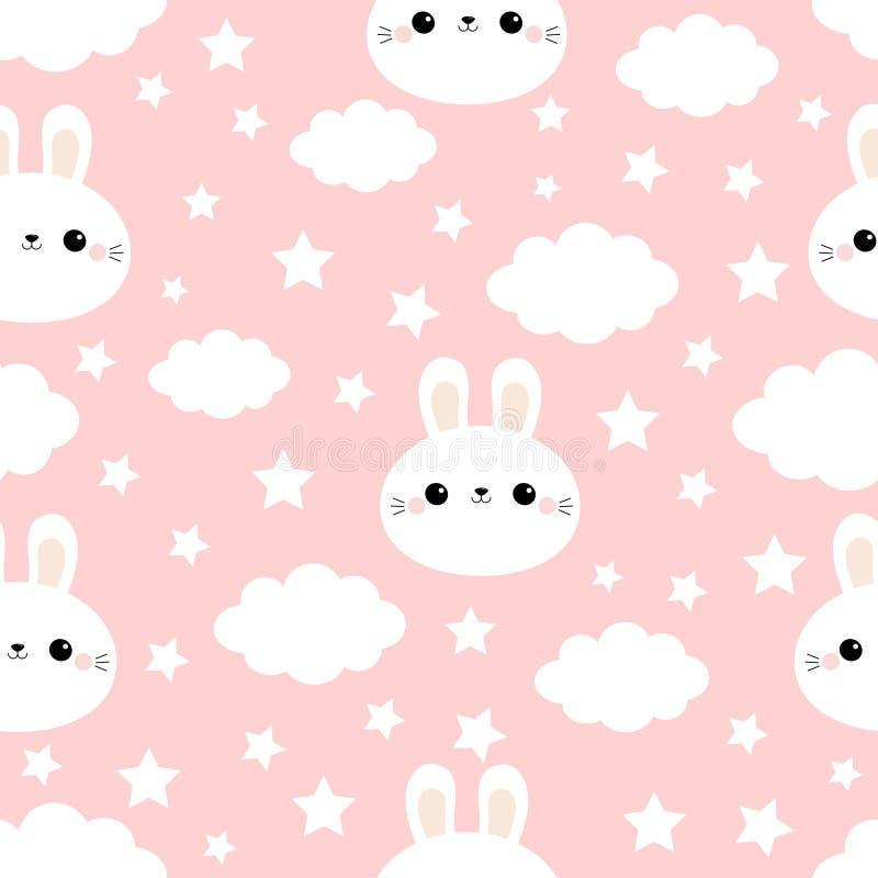 Kaninchenhäschen-Hasegesicht Wolke im Himmel Nahtloses Muster Nettes Karikatur kawaii lustiger lächelnder Babycharakter Packpapie lizenzfreie abbildung