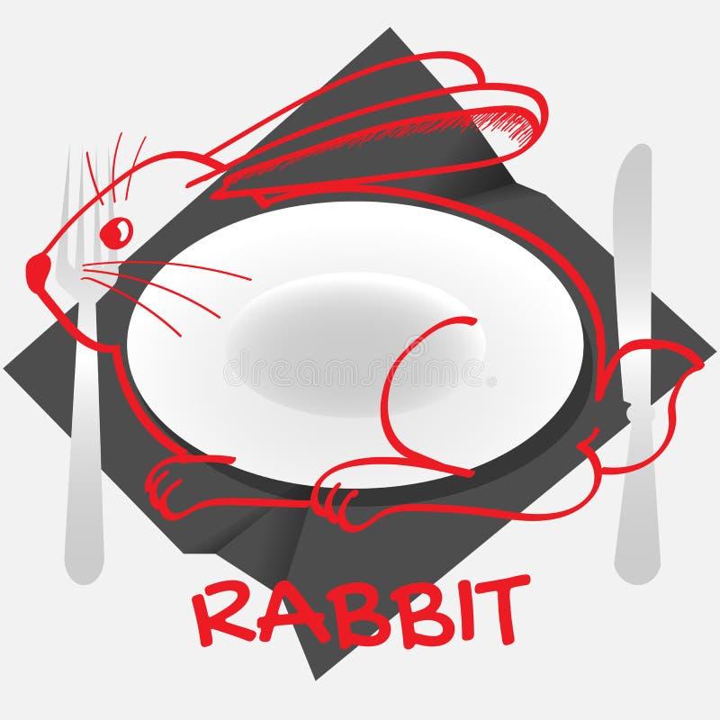 Kaninchentellerlogo mit einer Kaninchen-förmigen Platte und einem Tischbesteck auf einer zerknitterten Serviette vektor abbildung