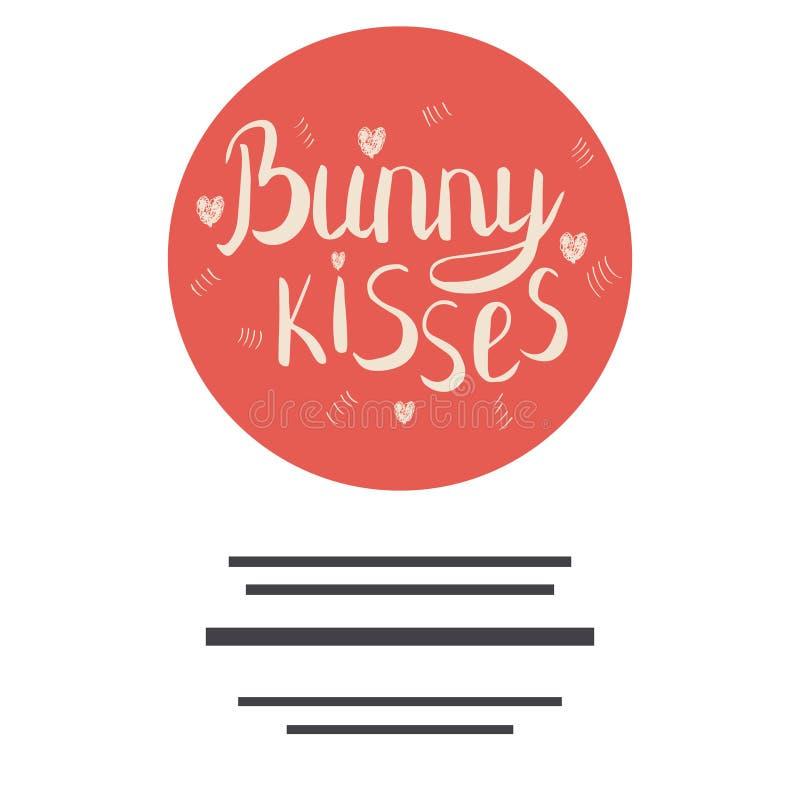 Kaninen kysser utdraget citationstecken för hand med kopieringsutrymme royaltyfri illustrationer