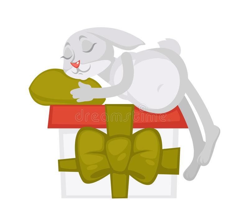 Kaninen sover på den enorma gåvaasken med bandet och pilbågen stock illustrationer