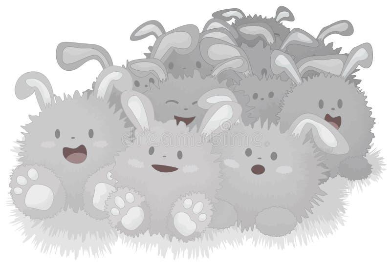 kaniner dammar av lyckligt royaltyfri illustrationer