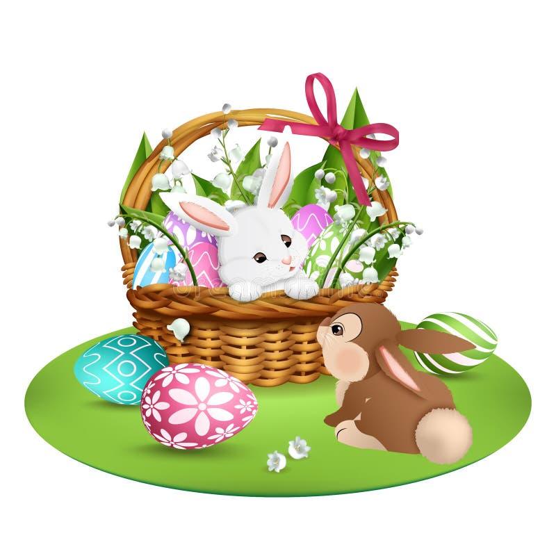 kaniner gulliga två bakgrund färgade vektorn för tulpan för formatet för easter ägg eps8 den röda stock illustrationer