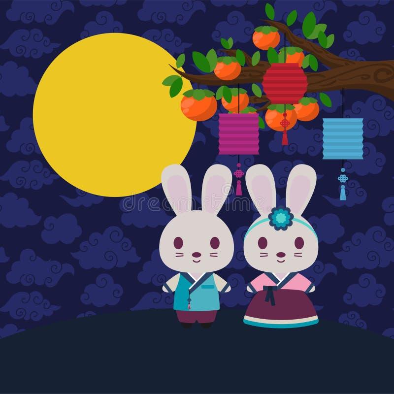 Kaniner i Hanbok under persimonträd med lyktor och fullmånen royaltyfri illustrationer