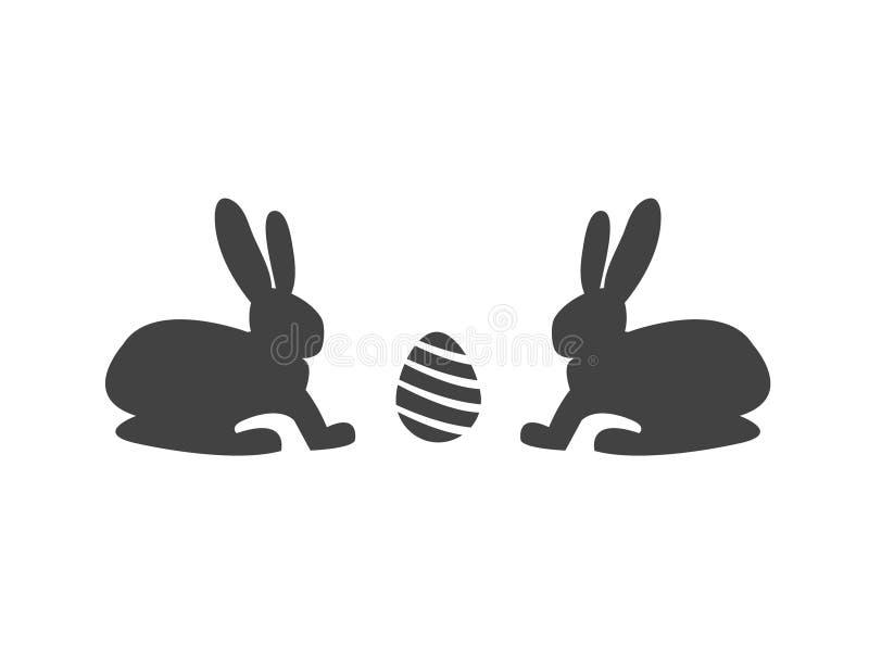 Kaniner med ett ägg Abstrakt plan symbolsdesign lyckliga easter vektor illustrationer