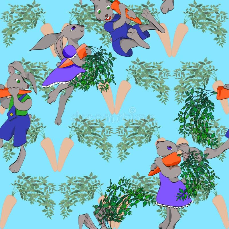 kaniner och sömlös bakgrund för morötter royaltyfri illustrationer