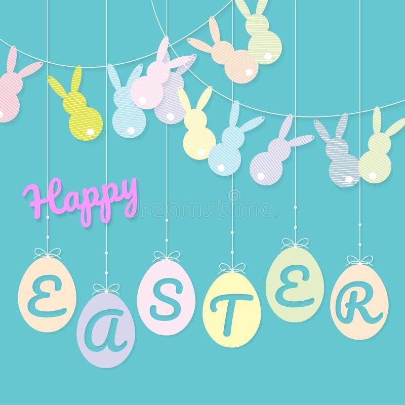 Kaniner som bunting att hänga för flagga och för ägg stock illustrationer