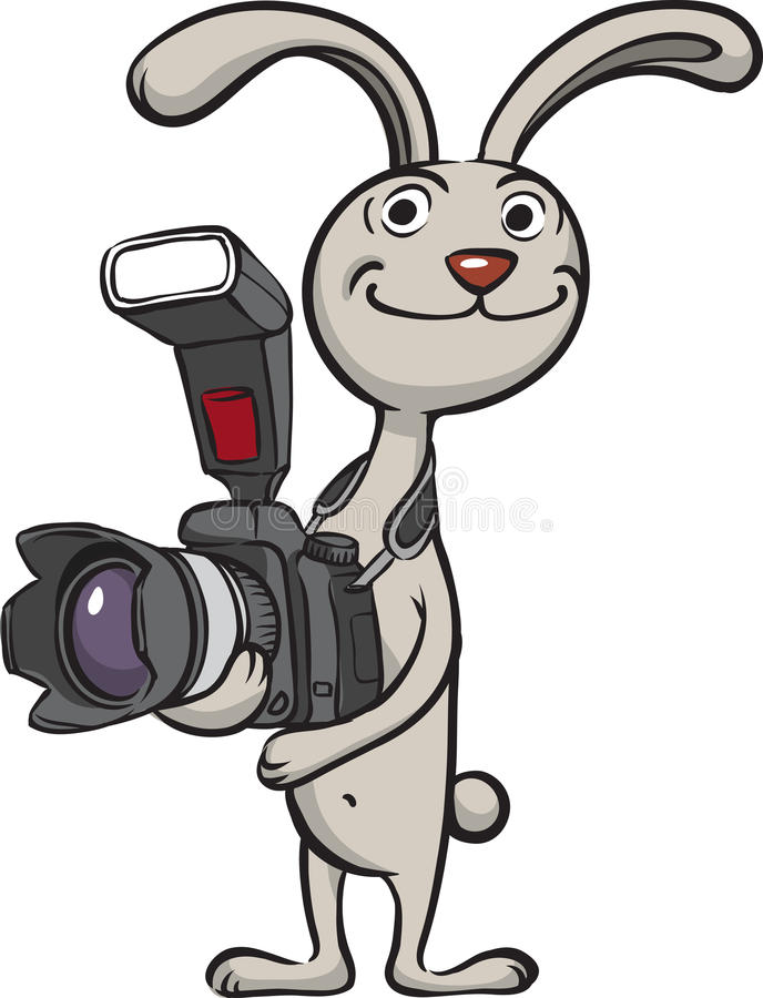 Kaninfotografanseende med kameran stock illustrationer