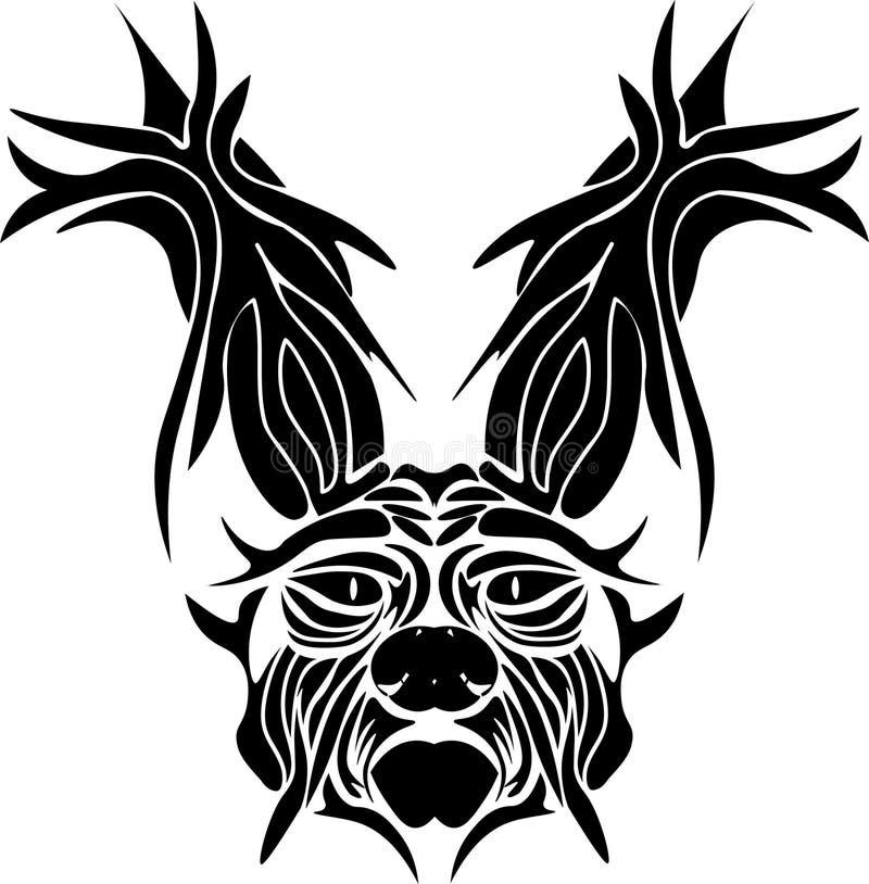 Kaninhuvud med en färg stock illustrationer