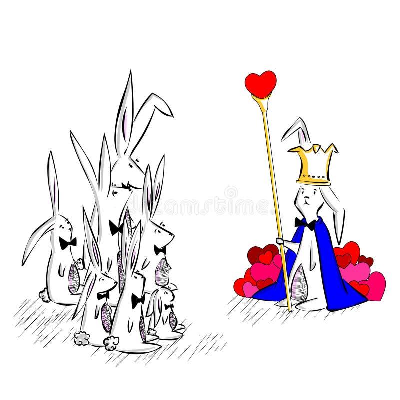 Kaninkonung av hjärta stock illustrationer
