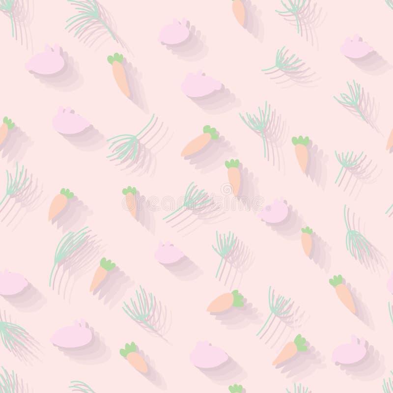 Kaninmoroten gräs den sömlösa modellen för pastellfärgad tygskugga stock illustrationer