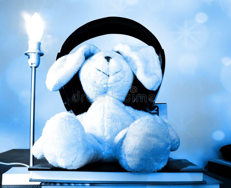 Kaninplysch att leka med trådlös hörlurar som sitter på böcker som tycker om musik Mjuk blå bokeheffekt royaltyfria bilder