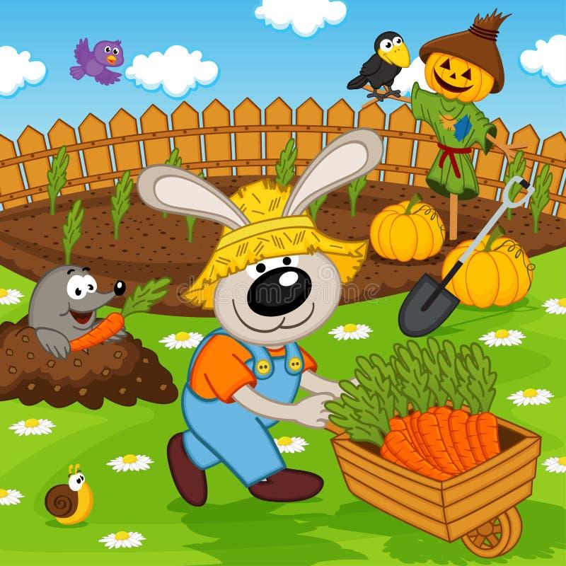 Kaninträdgårdsmästare med moroten vektor illustrationer