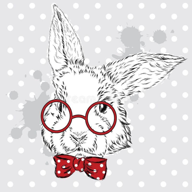 Kaninvektor Handteckning av djuret tryck hipster Vattenfärgkanin släkt tappning för antik collectible postobjektvykort pojke stock illustrationer