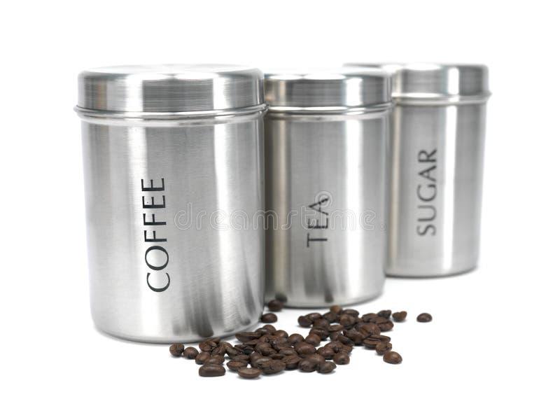 kanisterów kawy cukieru herbata obrazy stock