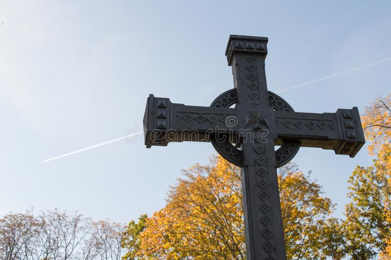 The first cross on the grave of Taras Shevchenko on Taras Hill Chernecha Hora in Kaniv, Ukraine on. KANIV, UKRAINE - OCTOBER 14: The first cross on the grave of royalty free stock photography