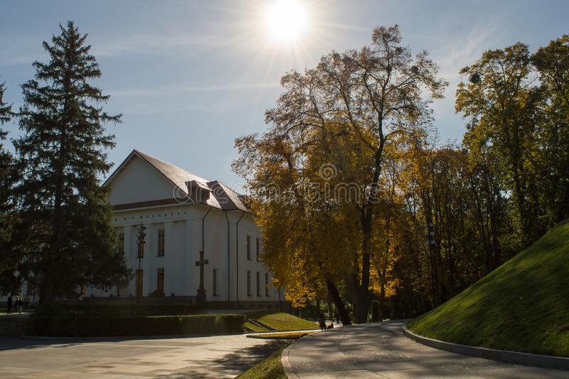 The national reserve of Taras Shevchenko on Taras Hill Chernecha Hora in Kaniv, Ukraine on October. KANIV, UKRAINE - OCTOBER 14: The national reserve of Taras royalty free stock image