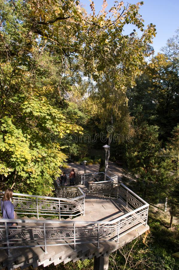 Stairs to national reserve of Taras Shevchenko on Taras Hill Chernecha Hora in Kaniv, Ukraine on Oc. KANIV, UKRAINE - OCTOBER 14: Stairs to national reserve of stock photos