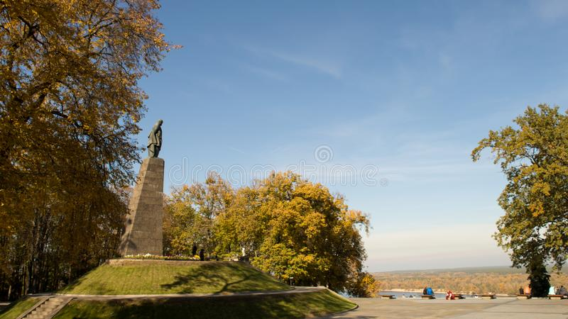 Taras Shevchenko monument on Taras Hill or Chernecha Hora in Kaniv, Ukraine on October 14, 2018. KANIV, UKRAINE - OCTOBER 14: Taras Shevchenko monument on Taras stock photo