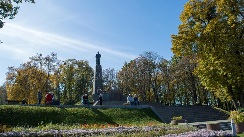 Taras Shevchenko monument on Taras Hill or Chernecha Hora in Kaniv, Ukraine on October 14, 2018. KANIV, UKRAINE - OCTOBER 14: Taras Shevchenko monument on Taras stock photography