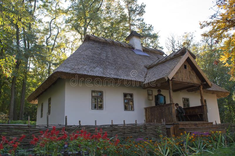 Taras Shevchenko museum on Taras Hill or Chernecha Hora in Kaniv, Ukraine on October 14, 2018. KANIV, UKRAINE - OCTOBER 14: Taras Shevchenko museum on Taras stock image