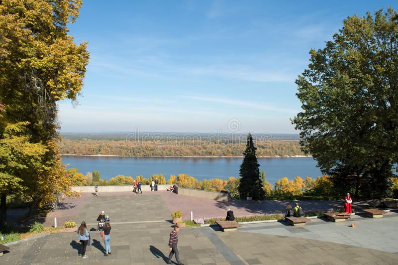 View of the Dnieper River in autumn from Taras Hill or Chernecha Hora in Kaniv, Ukraine on October 14. KANIV, UKRAINE - OCTOBER 14: View of the Dnieper River in stock photos