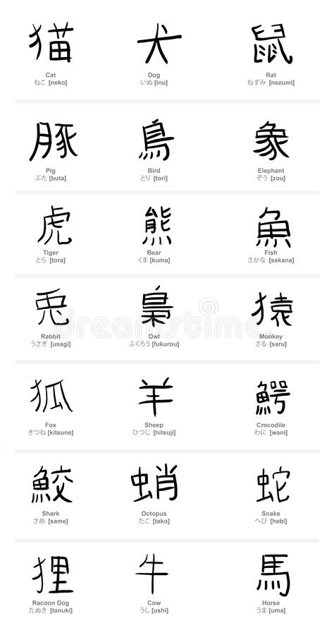 Kanji Animals royaltyfri illustrationer