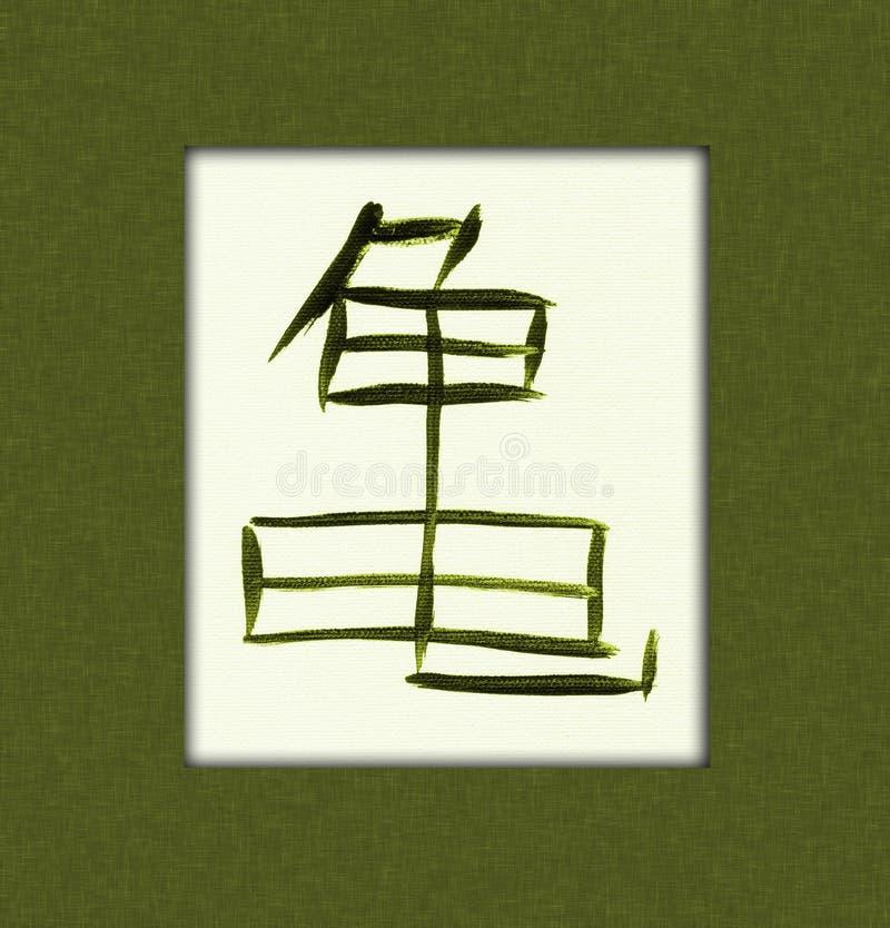 Kanji de la tortuga ilustración del vector